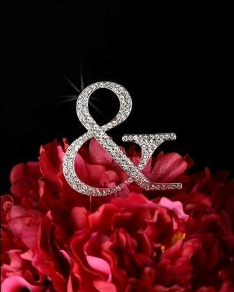 Unik Occasions Collection Crystal Rhinestone Wedding Cake Topper, Small, Ampersand, Silver