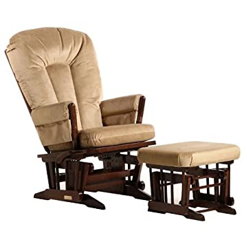 Dutailier 2 Post Multiposition Glider and Ottoman Set in Light Brown