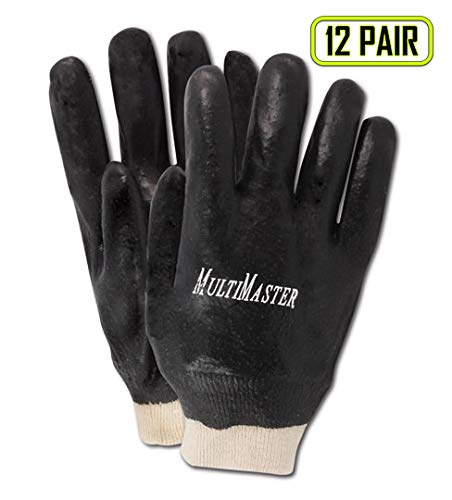 Magid Glove & Safety T1070R Magid MultiMaster Rough Finish PVC Gloves, Large, Black, Large (Pack of 12)