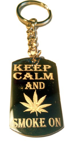 - Keep and Smoke on Marijana Weed Pot Leaf Ganja Logo Symbols - Metal Ring Key Chain