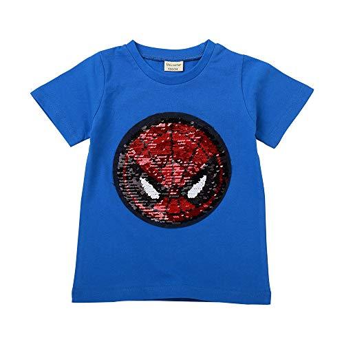 (Little Boys Flip Sequin T-Shirt Cotton Crewneck Short Sleeve Tees Tops 3-8T (5T/120, Blue))