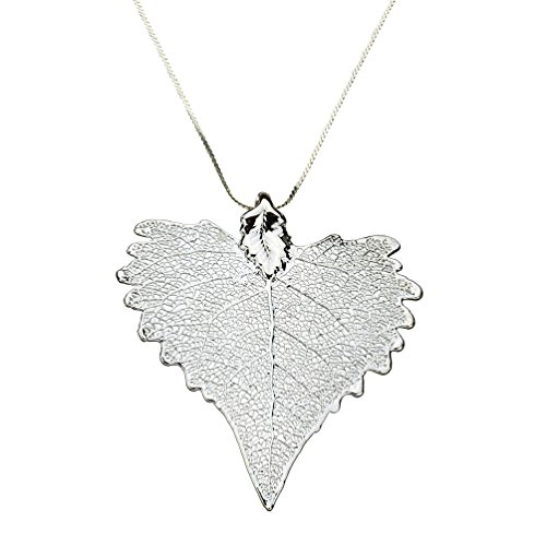 Silver-Plated Cottonwood Leaf Sterling Silver Omega Beads Necklace, 16