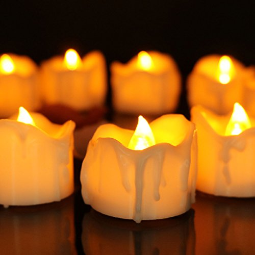 Youngerbaby 12pcs Amber Yellow Flickering Timing Flameless LED Tea Light Candles with Timer (6 Hrs on 18 Hrs Off), Wax Dripped Battery Operated Tealights for Wedding, Birthday, Home Party (Battery Operated Flickering Tea Lights)