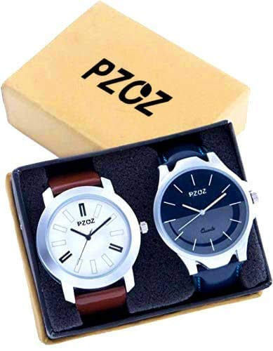 PZOZ Analogue Black Dial Brown Leather Men's Watches