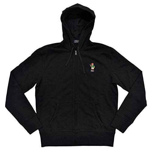 Polo Ralph Lauren Men's Zip Up Fleece Bear Hoodie (S, Polo Black) Bear Fleece Hoodie