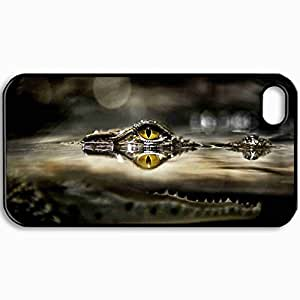Personalized Protective Hardshell Back Hardcover For iPhone 4/4S, Design River Crocodile Jaws Design In Black Case Color