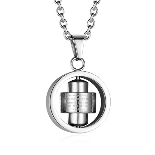 INRENG Stainless Steel Bible Verse Christian Lord's Prayer Cross Spinner Charm Pendant Necklace for Men Women, Silver