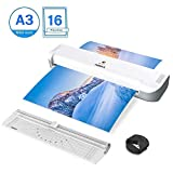 Laminator, ABOX 13'' Thermal Laminator for A3/A4/A5/A7, 2019 Newest Laminator Machine with 16 Laminating Pouches, Two-Roller System, Fast Warm Up & High Speed, No Bubbles, Perfect for Photos, Menus, ID Cards, Drawings, Important Documents and Craft Use (White/Grey)