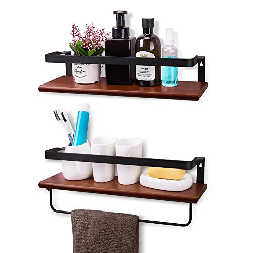 YASASHELF Floating Shelves Wall Mounted, Rustic Wood Wall Shelves for Bathroom, Kitchen, Living Room, Bedroom, Office etc. - Set of 2 Brown (Wood Wall Shelves Bathroom)