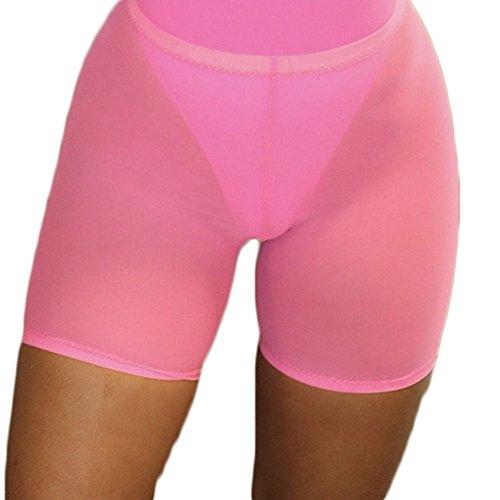 FULA-bao Women Sexy Perspective Mesh Sheer Swim Shorts Pants Bikini Bottom Cover up (Pink, XL)