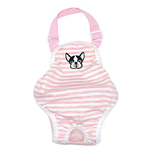 Image of Stock Show Dog Cute Summer Cotton Stripe Sanitary Pantie with Adjustable Strap Suspender Physiological Pants Pet Underwear Diapers Jumpsuits for Girl Dogs Medium Large Corgi French Bulldog, Pink