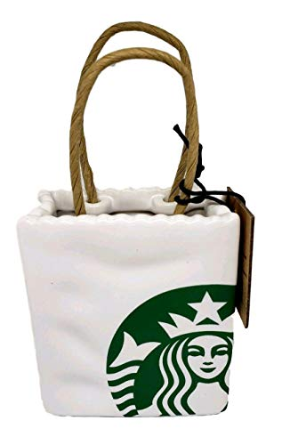 Starbucks 2018 Limited Ceramic Tote Holiday Christmas Tree Ornament or Gift Card Holder
