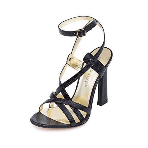 DSQUARED2 Women Black Crocodile Embossed Leather Slim High Heel Sandals Shoes US 6 EU 36