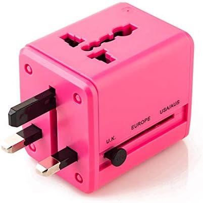 BEIQIHHY Plug USB Converter///Power Socket Global Travel Rose red
