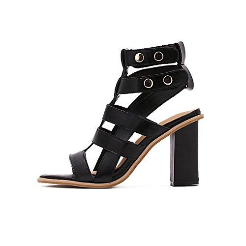 Heels Open fereshte T Women Buckle High Rivet Toe Chunky Summer 6black Sandals Hollow Size Heel Gladiator Strap Tw1Tq6xS