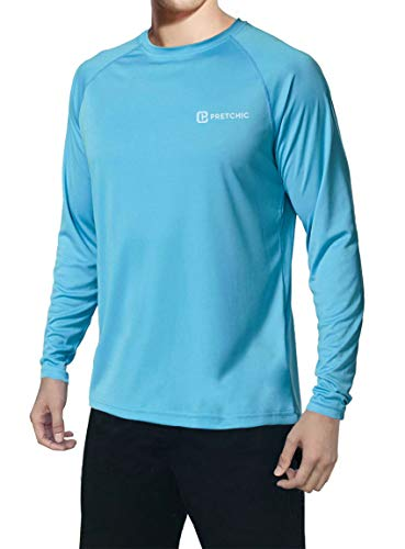 (Pretchic Men's UPF 50+ UV Sun Protection Performance Long Sleeve Outdoor T Shirt Blue XX-Large)