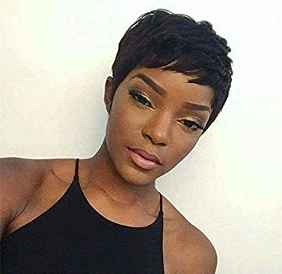 Pixie Cut Wigs Short Human Hair Wigs For Black Women Short Straight Black Ladies Wigs 1b Colour Buy Online At Best Price In Uae Amazon Ae