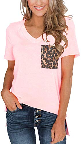Womens Short Sleeves Casual Loose V Neck T Shirts Basic Tops Leopard and Sequin Pocket Pink S