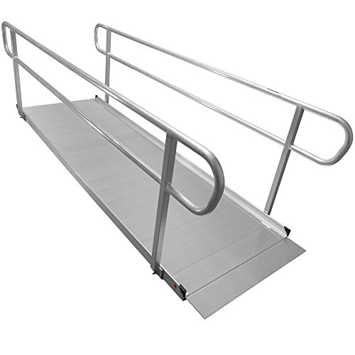 Titan Aluminum Wheelchair Entry Ramp and Handrails, Solid Surface Scooter Access