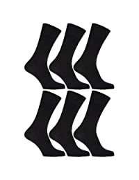 Mens 100% Cotton Non Elastic Top Gentle Grip Socks (Pack Of 6)