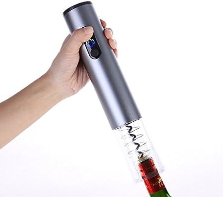 BESTONZON Abrebotellas eléctrico de acero inoxidable, abridor de botellas de vino, sacacorchos, para casa, restaurante, bar, sin batería (plata)