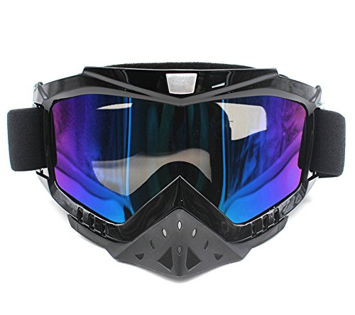 Motorcycle Goggles, Nuoxinus Adult Motocross ATV Dirt Bike Off Road Goggle, Anti UV Anti-Scratch Dustproof Nose Protection Bendable Eyewear for Skiing Cycling Riding Climbing (Colorful Lens)