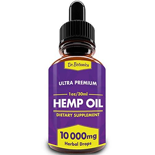 BIODENS Hemp Oil Drops, 10 000 mg, Natural CO2 Extracted, 100% Organic, Pain, Stress, Anxiety Relief, Reduce Insomnia, Vegan Friendly, Zero CBD, Zero THC