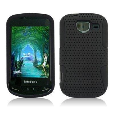 Boho Tronics Black Apex Mesh Hard Silicone Hybrid Gel Case Cover For Samsung Brightside ()