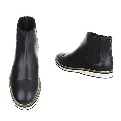 ... Stiefeletten Leder Herrenschuhe Chelsea Boots Moderne Reißverschluss  Ital-Design Boots Schwarz