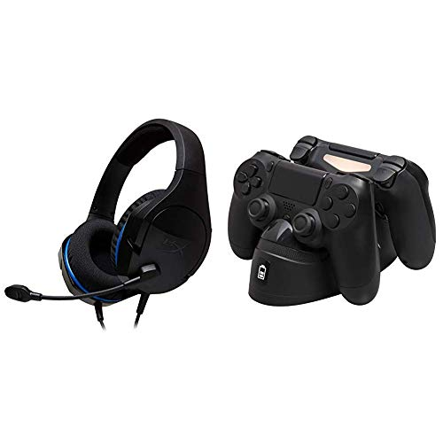 HyperX Cloud Stinger Core - Gaming Headset for PS4 and HyperX Chargeplay Duo - Controller Charging Station for Playstation 4