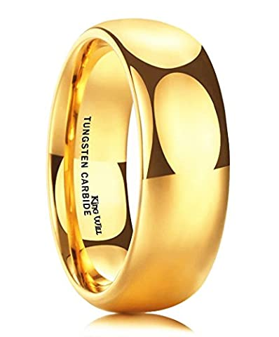 King Will GLORY Men's 8mm Tungsten Carbide Ring 24k Gold Plated Domed Polished Finish Wedding (Tungsten White Gold Ring)
