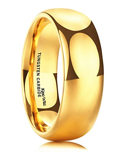 King Will GLORY Men's 8mm Tungsten Carbide Ring 24k Gold Plated Domed Polished Finish Wedding Band