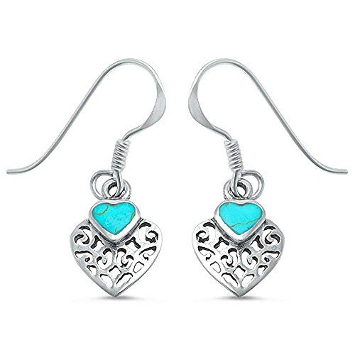 Heart Shape Green Turquoise .925 Sterling Silver Earrings