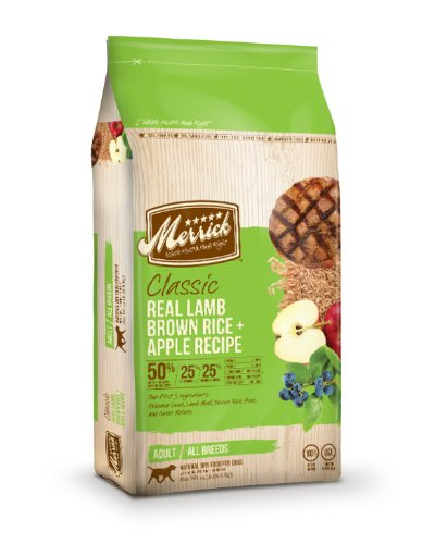 Merrick Classic 15-Pound Adult Real Lamb, Brown Rice and Apples Dog Food, 1 Bag, My Pet Supplies