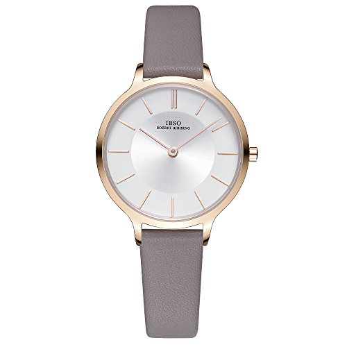 IBSO Female Watches Grey Leather Strap White Round Face Fashion Watches for Women on Sale Prime (6608-White Face Grey Strap)