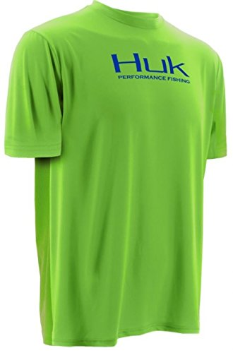 picture of HUK Icon Short Sleeve, Neon Green, Large