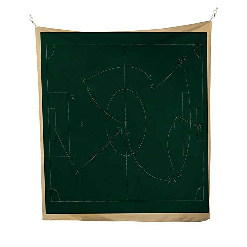 Soccerspace tapestryTactic Diagram with Pass and Goal Arrangement Attacking Defending Chalkboard 54W x 84L inch Wall Hanging tapestryDark Green Beige