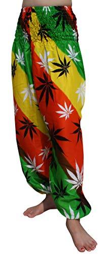 Full Funk Aladdin Rayon Smock Waist Harem Pants Pocket - Bright Hemp Leaves, Small, Hemp Leaves Orange Yellow