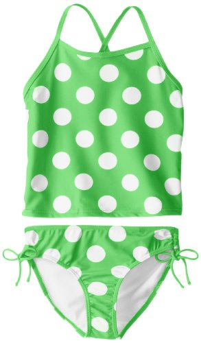 Kanu Surf Big Girls' Alexa Beach Sport 2-Piece Banded Tankini Swimsuit, Beachball Green Dot, 12