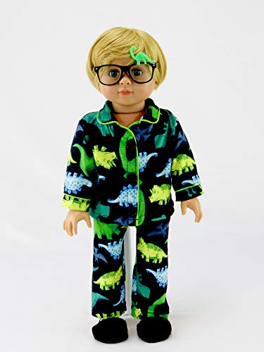 Green Yellow Dino Pajamas for Boys | Fits 18 American Girl Dolls, Madame Alexander, Our Generation, etc. | 18 Inch Doll Clothes