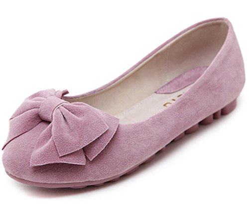 Maybest Women's Sweet Style Shoes Round Toe Peas Shoes Solid Color Soft Sole Slippers Slip On Boat Shoes Ballet Flats Pink 7 B (M) US Sweet Pea Flat