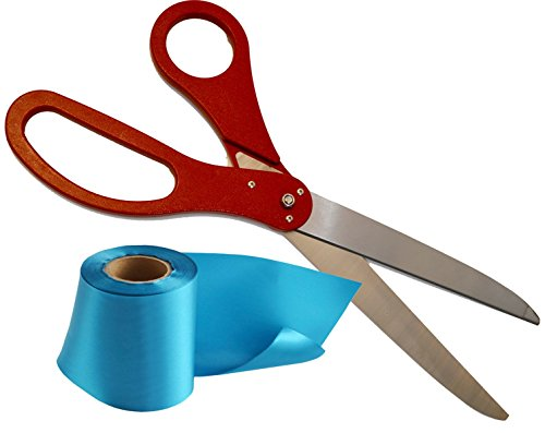 Red Scissors 25 Inch Long and Teal Blank Satin Ribbon (Width 4 Inch & Length 25 Yard) Set