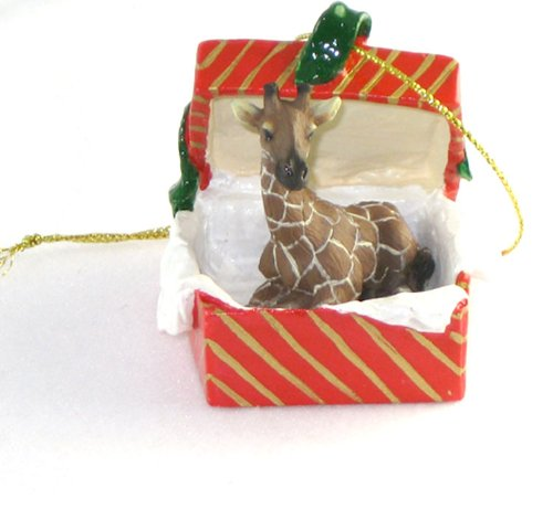 GIRAFFE in a RED GIFT BOX Christmas Ornament New Resin RGBA20