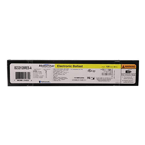 Universal B232I120RES-A Electronic Fluorescent Ballast, 2-Lamp, T8 F32T8 32W, 120V