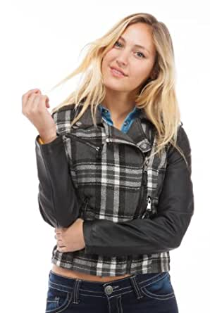 (2420XJPB-2X) Dollhouse Asymmetrical Zip Moto Jacket with Zipper Pockets and PU Sleeves & Epaulettes in Jagger Plaid, Size: 3X