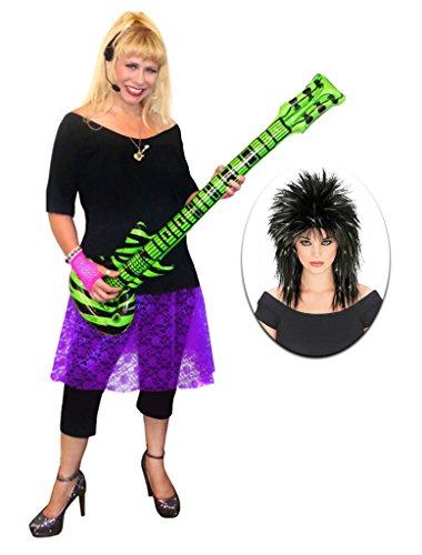 Rocker Chick Purple Lace Plus Size Supersize Halloween Costume Deluxe Black Wig Kit 9x -