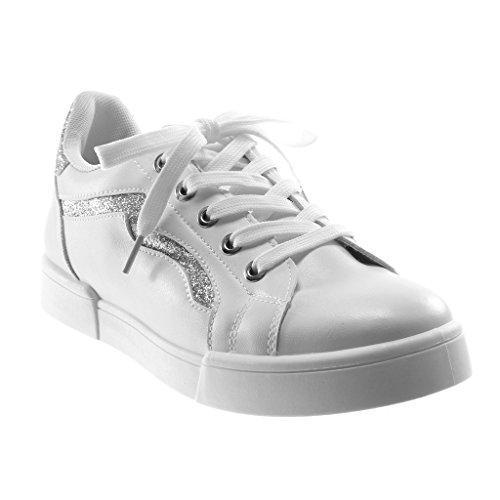 3af99b43e01d4 Angkorly Damen Schuhe Sneaker - Sporty Chic - Tennis - Glitzer - Fertig  Steppnähte Flache Ferse