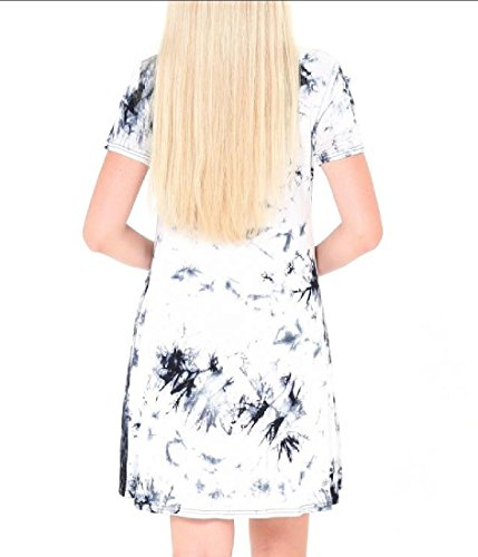 Tie-dye Simples Robes O-cou Haut Gris Confortables Manches Courtes Quotidienne Des Femmes