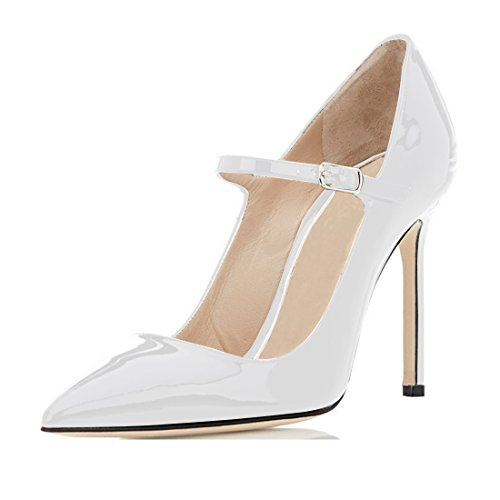 (Sammitop Women's Pointed Toe Mary Jane Stiletto Heel Classic Dress Pumps White Size US13)