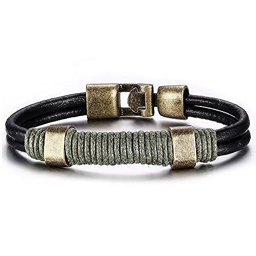 1d6e43010498 ... para hombres. Delicado joielavie joyas pulsera cuerda trenzado de doble  capa de piel Vintage de aleación de bronce